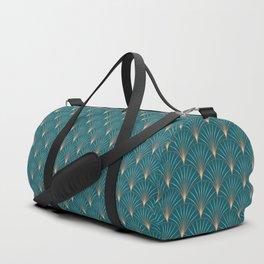Vintage Art Deco Floral Copper & Teal Duffle Bag