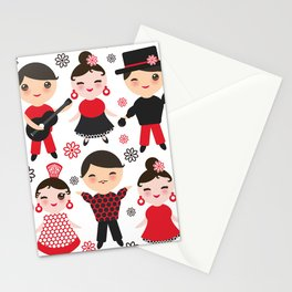 Spanish flamenco dancer. Kawaii cute face with pink cheeks and winking eyes. Gipsy Stationery Cards