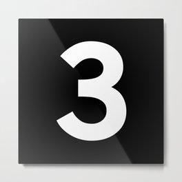 Number 3 (White & Black) Metal Print