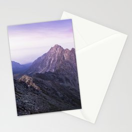 LANDSCAPE PHOTOGRAPHY OF MOUNTAIN RANGES UNDER PURPLE AND PINK SKIES Stationery Cards