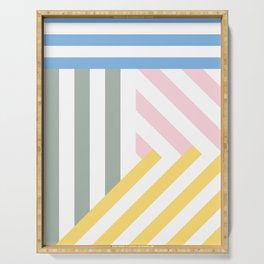 Yellow and grey stripe colors Serving Tray