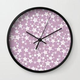 Lino Block Print Mauve and White Stars Pattern Wall Clock