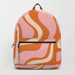 Liquid Swirl Retro Abstract Pattern in Orange Pink Cream Backpack