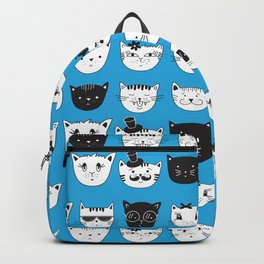 Super Cool Hipster Cats in Sunglasses Black and White Pattern Backpack