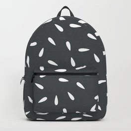 White Raindrops on Dark Gray Background Backpack