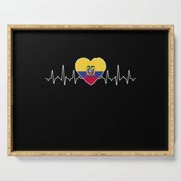 Ecuador Heartbeat Flag Serving Tray