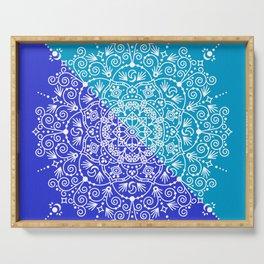 Moroccan Mandala – Blue Diagonal Palette Serving Tray