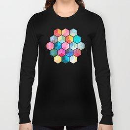 Crystal Bohemian Honeycomb Cubes - colorful hexagon pattern Langarmshirt