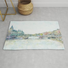 La Seine 1, Paris, France, by Jennifer Berdy Rug