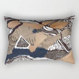 Navy Floral  Rectangular Pillow