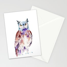 Woodland Owl Watercolor Stationery Cards