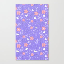 Cute bird and flower pattern Canvas Print