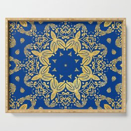 golden mandala on the dark blue background Serving Tray