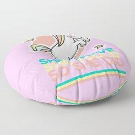 Kawaii unicorn #1 - She believe, she could, so she did Floor Pillow