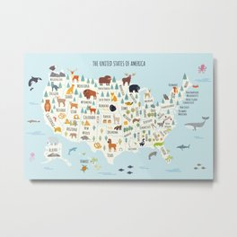 US Animal Map // United States of America map // US map // Nursery map Metal Print