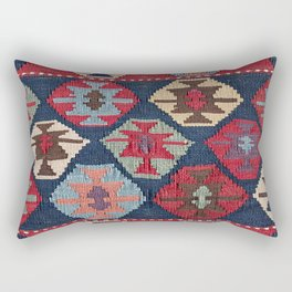 Red Band Diamond Kilim // 19th Century Colorful Brown Cream Peach Navy Blue Ornate Accent Pattern Rectangular Pillow