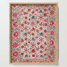 Bokhara  Antique Uzbek Suzani Embroidery Print Serving Tray