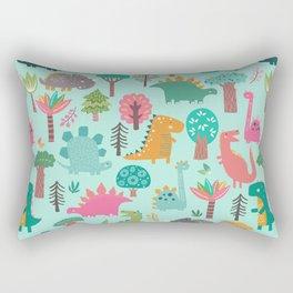 Dinosaurs in the woods pastel green pattern Rectangular Pillow