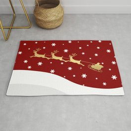 Red Christmas Santa Claus Rug