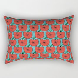 Pop Fruit Apple Blue Rectangular Pillow