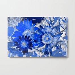 3 Blue Sunflowers Metal Print