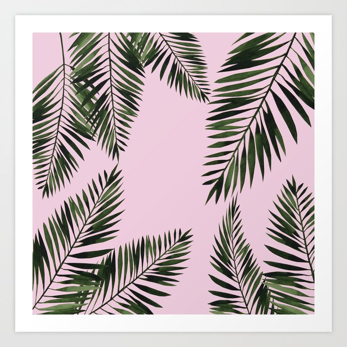 Watercolor Tropical Palm Leaves Pink Art Print By Lavieclaire Society6 Blue, red, and pink swiss cheese leaves print textile. watercolor tropical palm leaves pink art print by lavieclaire
