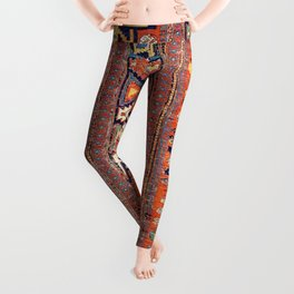Southwestern Farmhouse III // 19th Century Colorful Red Yellow Blue Green Aztec Farm Stars Pattern Leggings