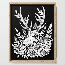 Animal Skull Deer Foliage Memento Mori Goth Witchy Serving Tray