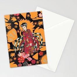 Japanese yokai Jorogumo orange and black. Stationery Cards