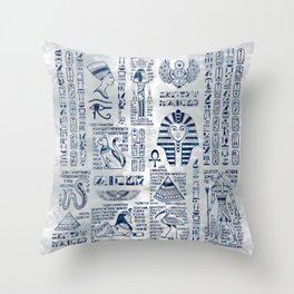Egyptian hieroglyphs and deities abalone on pearl Throw Pillow