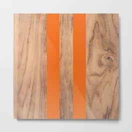 Striped Wood Grain Design - Orange #840 Metal Print