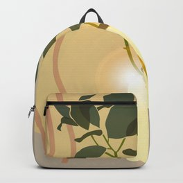 Green Leafed Plant Inside Vase, Sun Reflection Scene Backpack