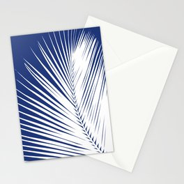 Palm Leaf Silhouette, Navy Blue and White Stationery Cards
