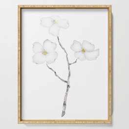 white dogwood flower watercolor Serving Tray