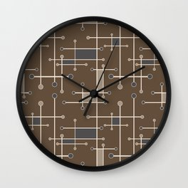 Intersecting Lines in Brown, Tan and Gray Wall Clock