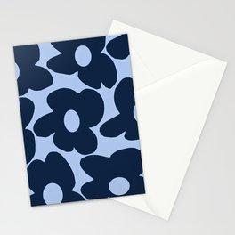 Large Dark Blue Retro Flowers Baby Blue Background #decor #society6 #buyart Stationery Cards