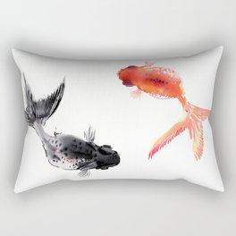 Two KOI , Feng Shui, Fish art, Rectangular Pillow