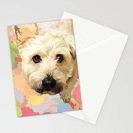 White puppy pop art portrait Stationery Cards