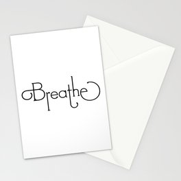 Breathe Black Text on White Stationery Cards