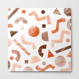 geometric shapes peach Metal Print