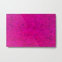 Bright Neon Hot Pink Fuchsia Brick Wall Metal Print
