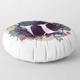 Personalized Monogram Initial Letter H Floral Wreath Artwork Floor Pillow