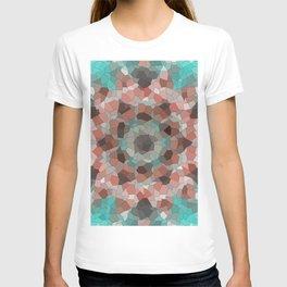 Blurry Mosaic Star Pattern in Orange and Aqua-Blue T-shirt
