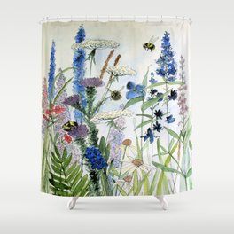 Wildflower in Garden Watercolor Flower Illustration Painting Shower Curtain