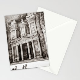 Camels at Petra | Black and White Stunning Stone Monument Hidden Lost City Treasury Carved Cliff Stationery Cards