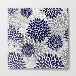 Abstract, Floral Prints, Navy Blue and Grey Metal Print