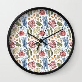 Coral Reef Watercolor Pattern- Maroon Wall Clock