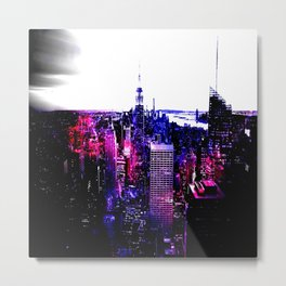 new york City Pink Purple Blue Metal Print