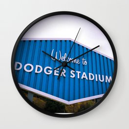 Welcome to Dodger Stadium   Los Angeles California Nostalgic Iconic Sign Sunset Art Print Tapestry Wall Clock
