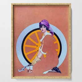 """Coles Phillips 'Fadeaway Girl' Illustration  """"The Wheel"""" Serving Tray"""